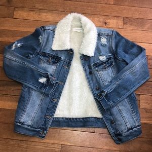 Pacsun Ripped Denim Jacket w/ Fur